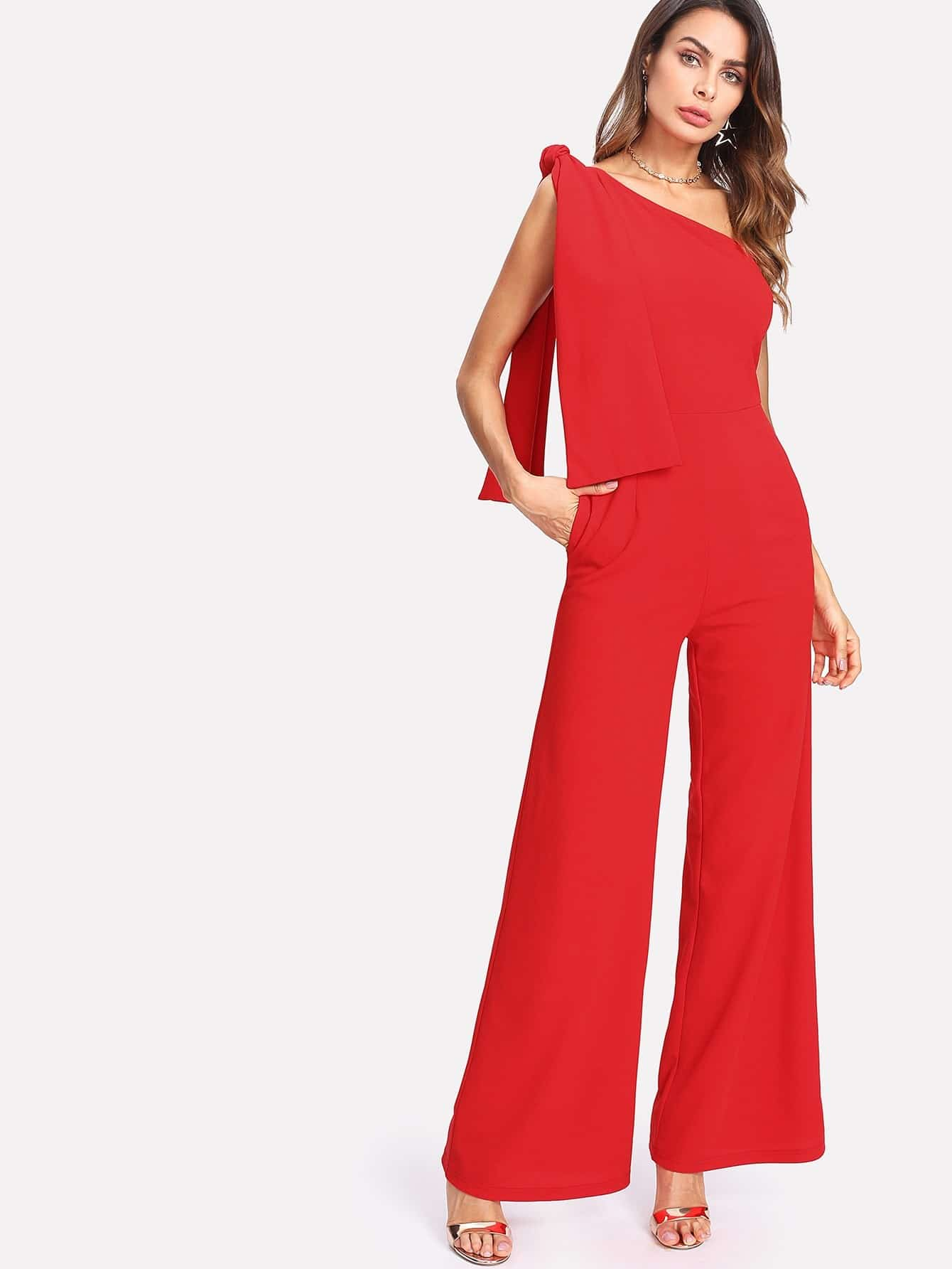 Knot One Shoulder Palazzo Jumpsuit