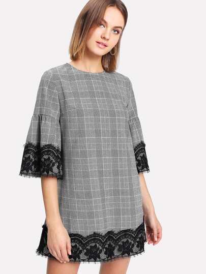 Eyelash Lace Detail Trumpet Sleeve Plaid Dress