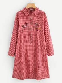 Embroidery Detail Gingham Shirt Dress