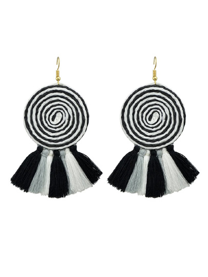 Black Candy Color Long Tassel Big Hanging Earrings