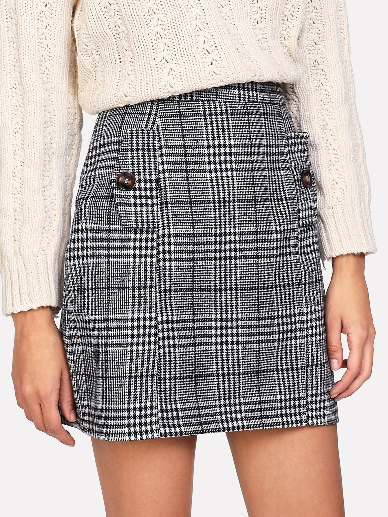 Zip Back Wales Check Skirt split front wales check skirt