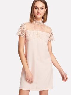 Dot Mesh Yoke Lace Applique Dress