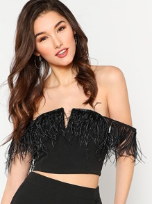 V Notch Faux Feather Detail Bardot Top