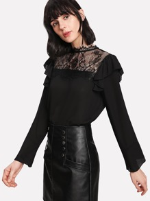Fluted Sleeve Lace Panel Ruffle Trim Top