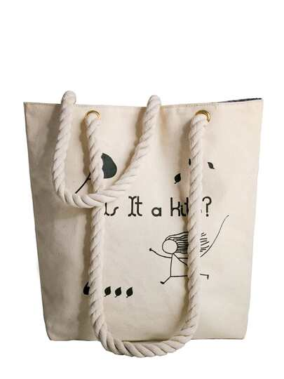 Stick Figure Print Canvas Shoulder Bag