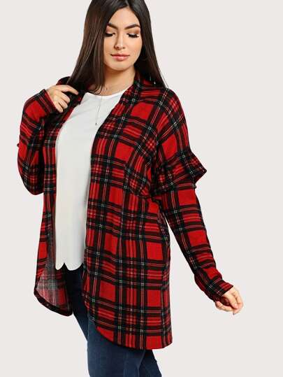 Plaid Print Ruffle Sleeve Open Cardigan RED