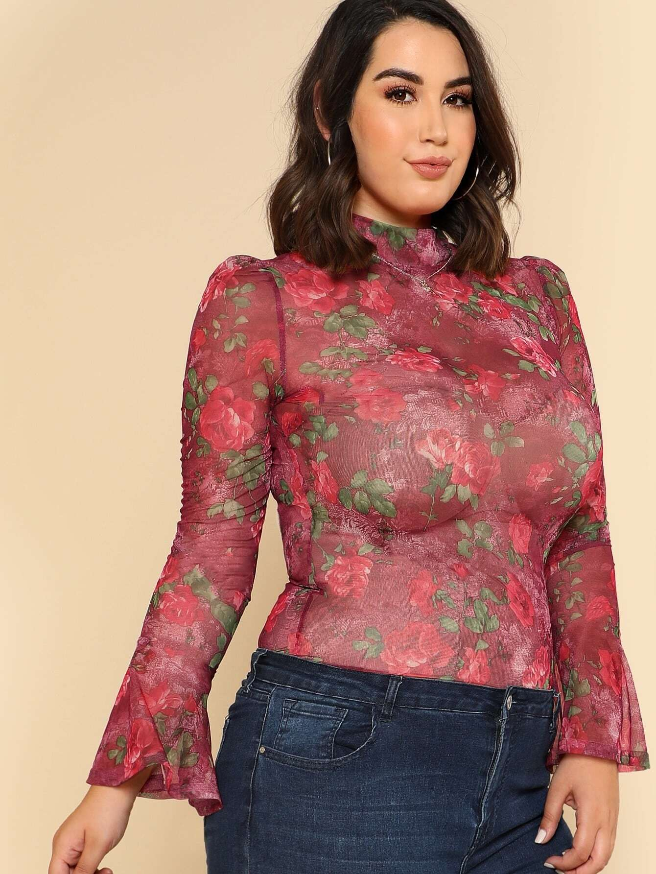 Image of Bell Cuff Rose Print Mesh Top