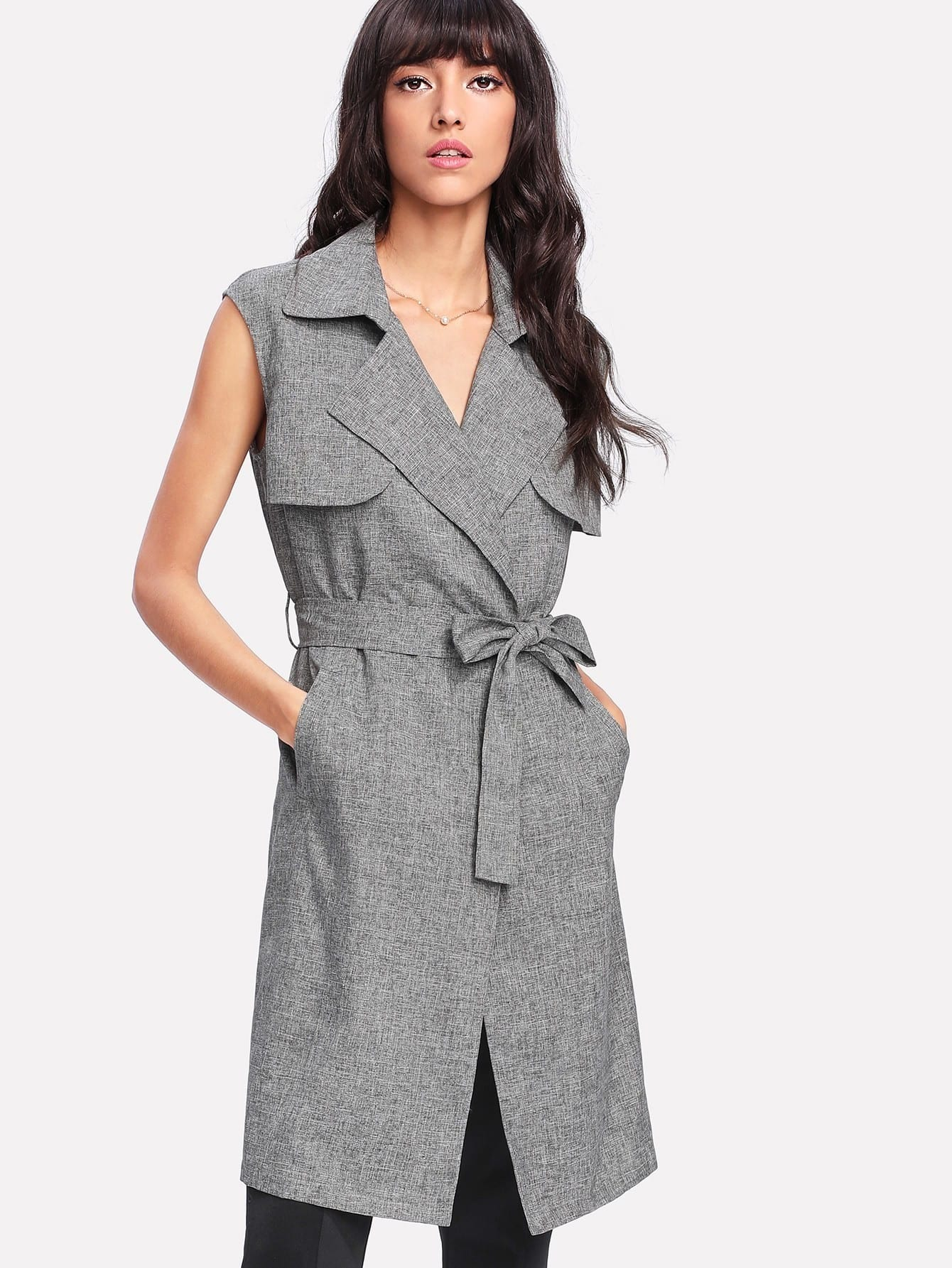 Flap Front Self Belted Sleeveless Trench Coat drape front belted skater suede coat