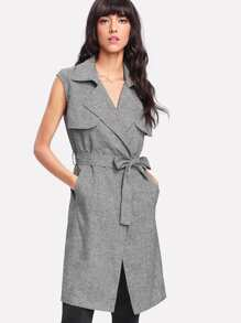 Flap Front Self Belted Sleeveless Trench Coat