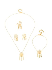 Dreamcatcher Detail Ring & Necklace &Bracelet & Earring Set