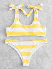 Knot Striped Bikini Set