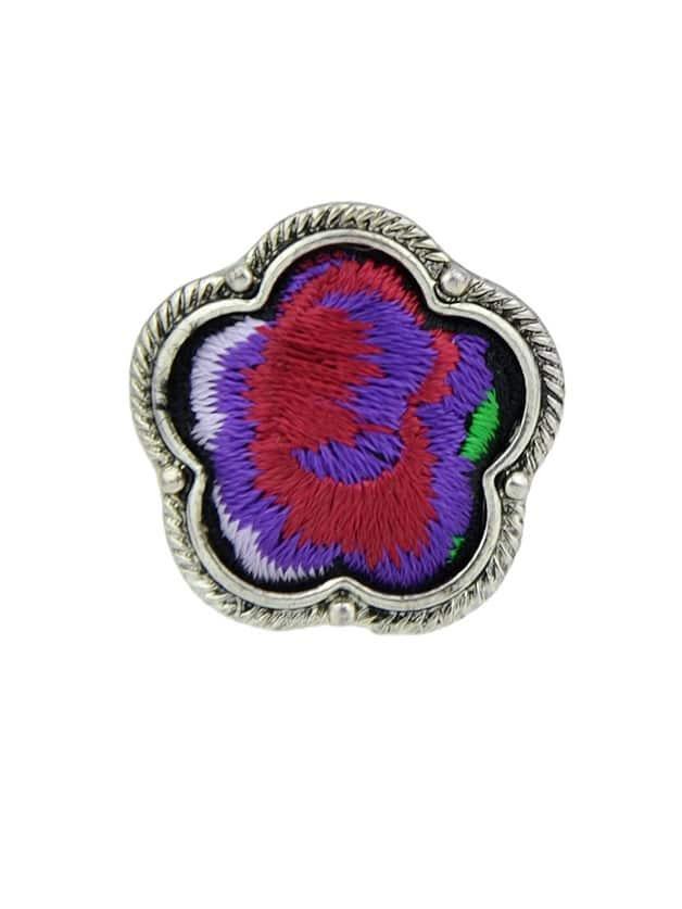 Purple Handmade Embroidery Flower Finger Rings