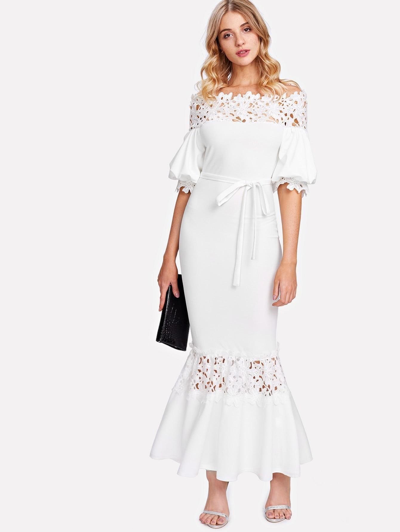 Купить Модное платье с поясом и кружевной вставкой, Nathane, SheIn
