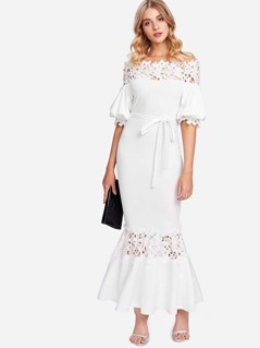 Guipure Lace Panel Self Belted Trumpet Dress