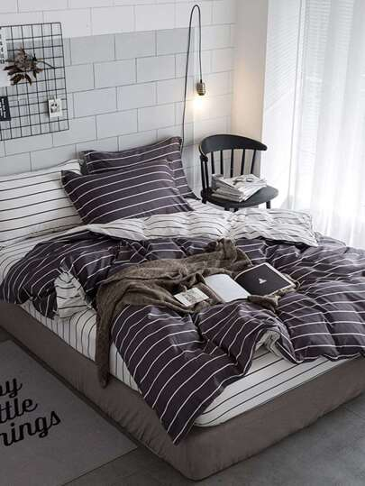 1.8m 4Pcs Pencil Striped Duvet Cover Set