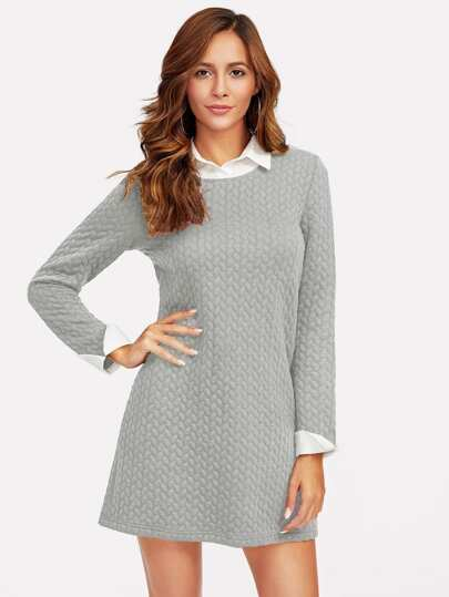 Contrast Collar And Cuff Textured 2 In 1 Dress