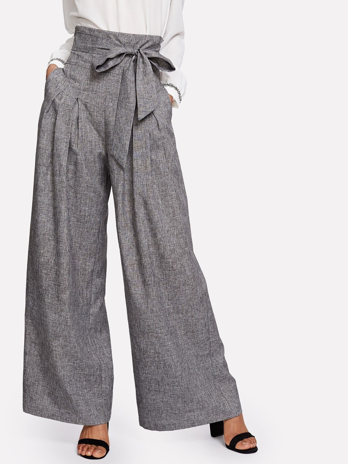 Image of Self Belted Box Pleated Palazzo Pants