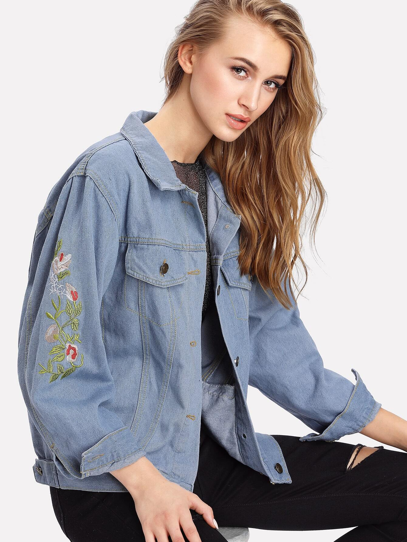 Image of Embroidered Denim Jacket