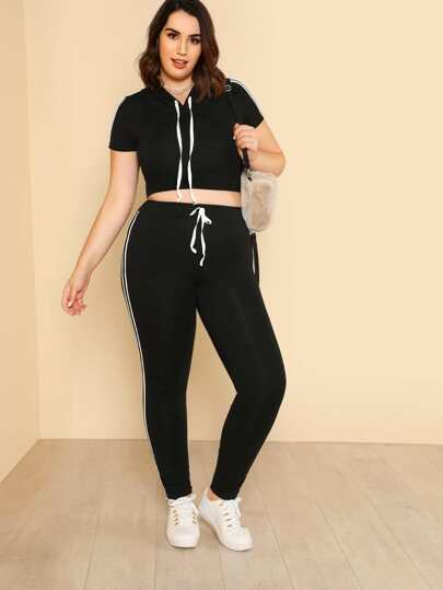 Striped Side Crop Drawstring Top & Sweatpants Set