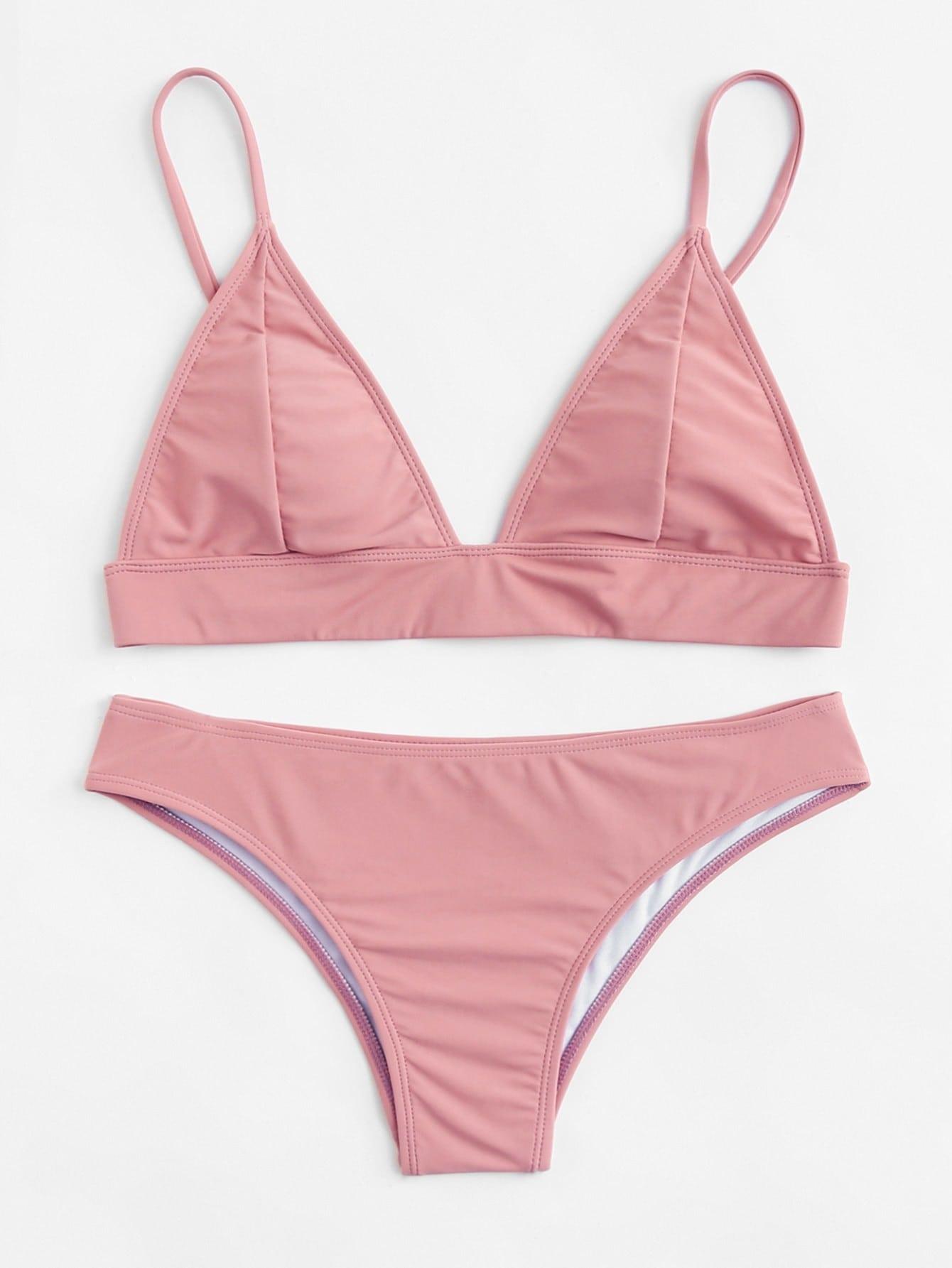 Фото Adjustable Strap Triangle Bikini Set checker knot bikini set