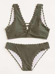 Criss Cross Front Scallop Bikini Set