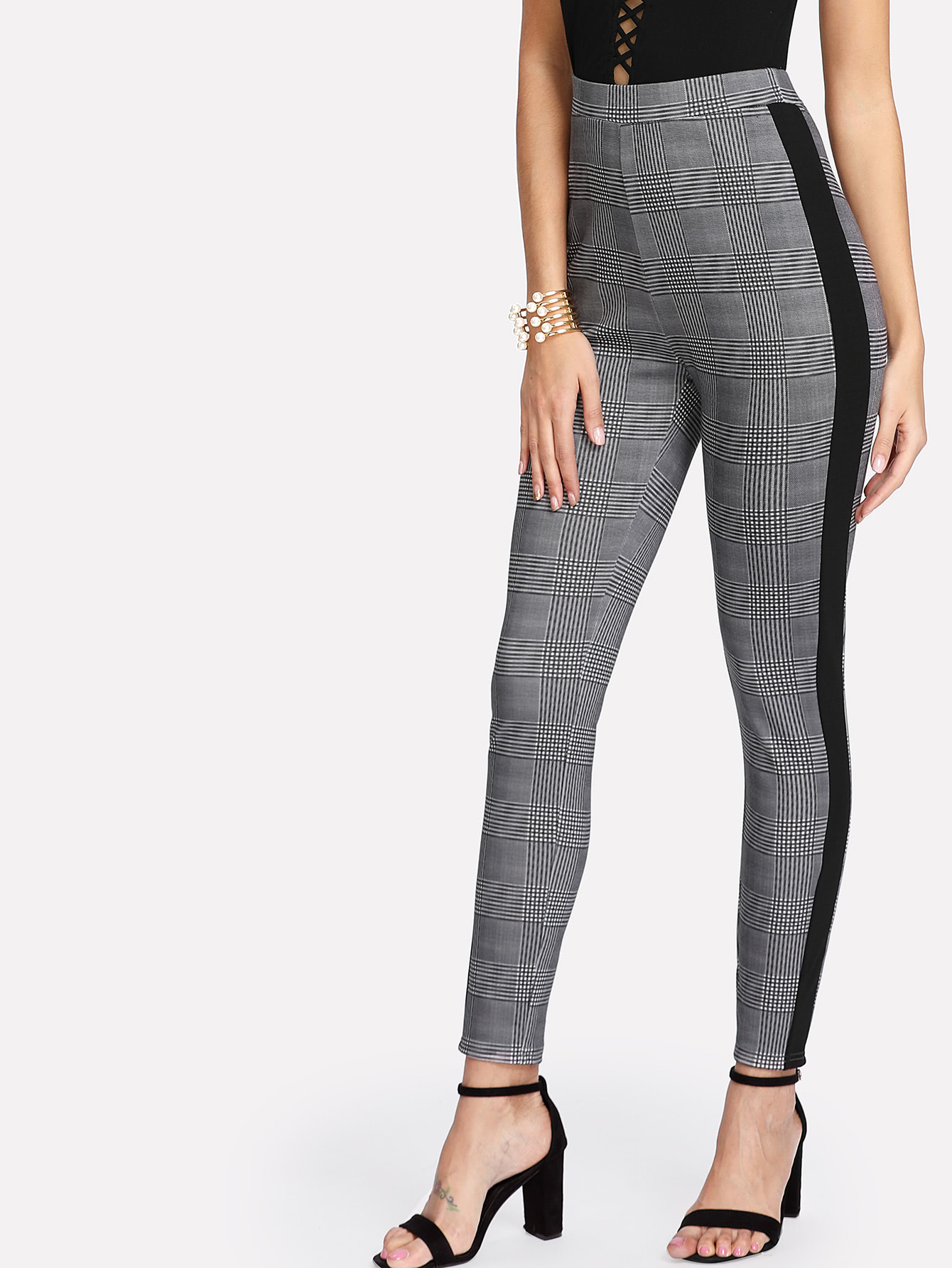 Contrast Tape Side Plaid Tapered Pants contrast stripe tape side pants