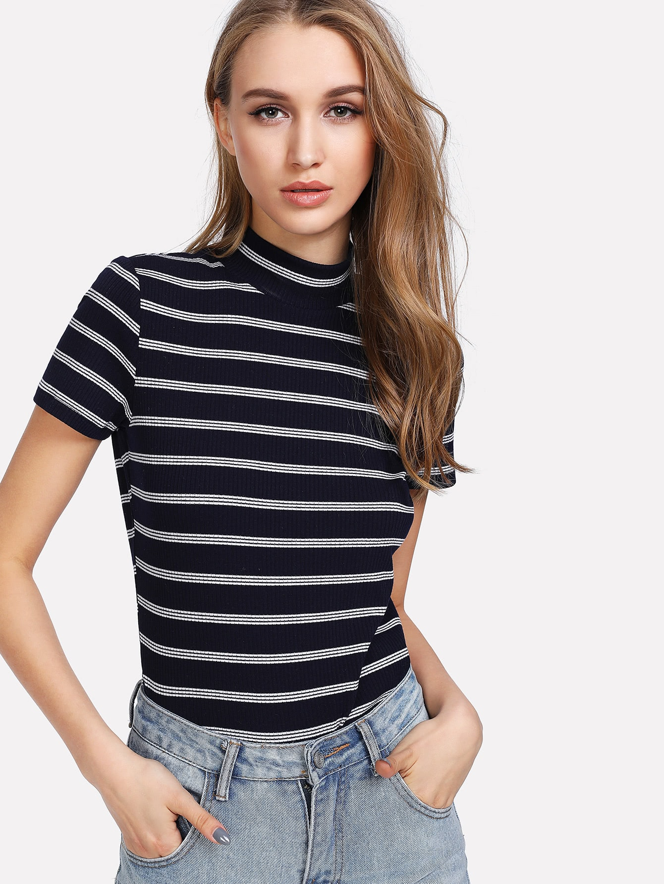 Mock Neck Striped Tee plaid print mock neck tee without lingerie