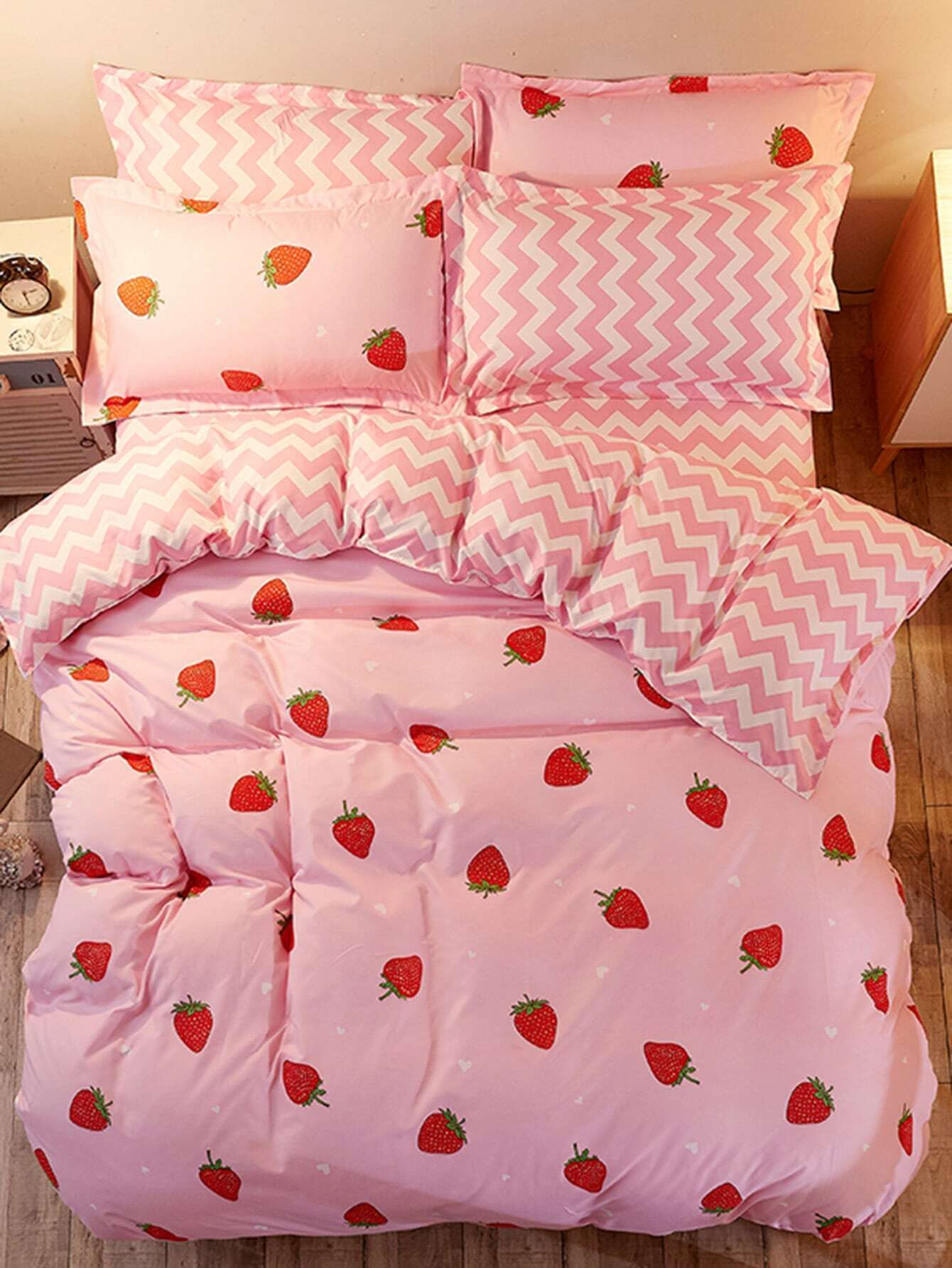 1.2m 4Pcs Fruit Print Chevron Duvet Cover Set 1 2m 4pcs fruit print duvet cover set