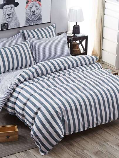 2.0m 4Pcs Striped Print Duvet Cover Set