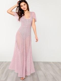 Deep V Neck Transparent Lace Dress