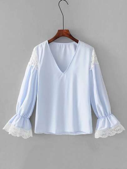 Lace Panel Fluted Sleeve Blouse