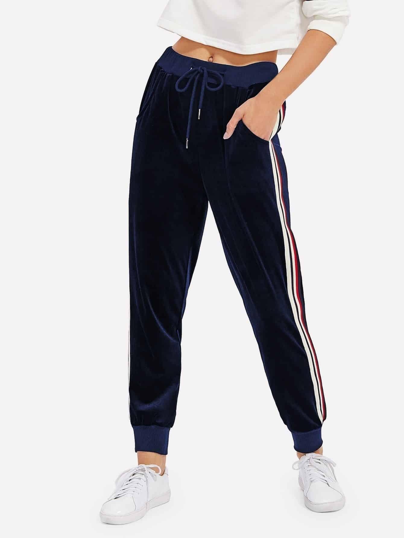 Stripe Contrast Velvet Pants lisa corti сандалии