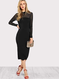Mock Neck Mesh Panel Midi Dress