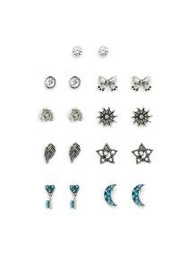 Bow & Leaf & Moon Design Stud Earring Set