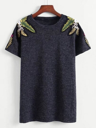 Tropical Embroidered Shoulder Tee