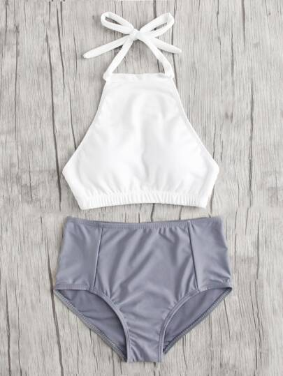 Mix And Match High Neck Bikini Set