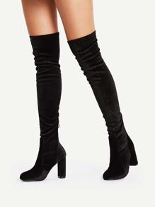 Back Zipper Block Heeled Thigh High Boots