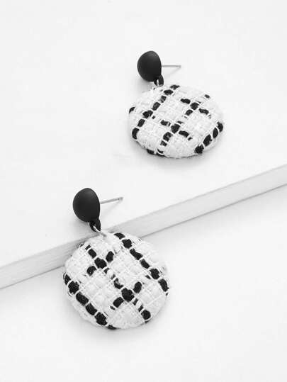 Two Tone Button Design Drop Earrings