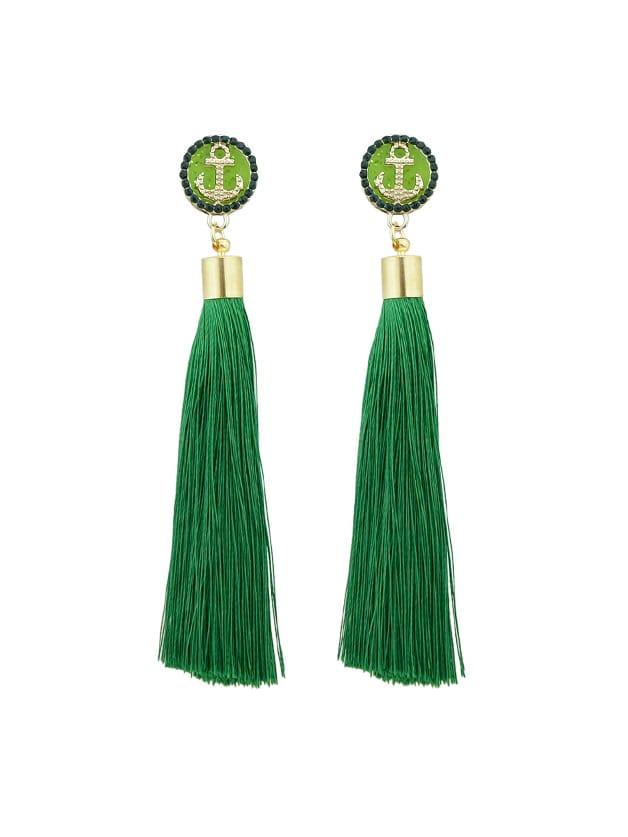 Grüne Anker Dekoration mit langen Quaste Ohrringe
