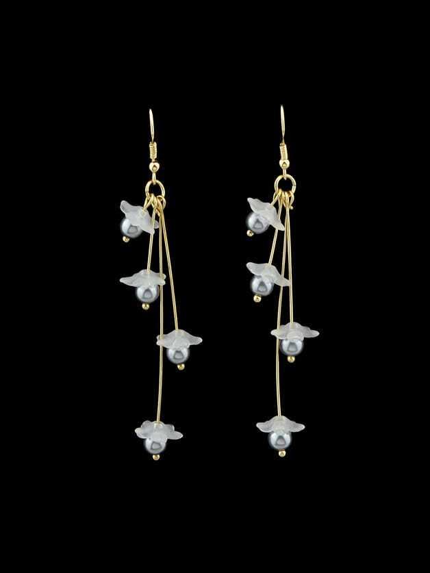 Gray Flower Drop Pendant Earrings Female clip on earrings with mandala flower pattern round pendant