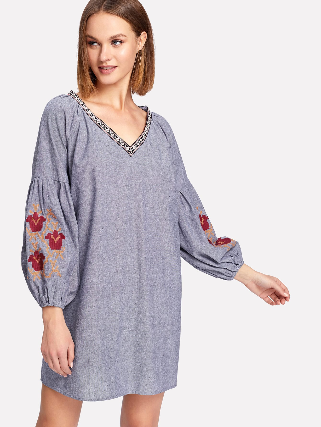 Embroidery Bishop Sleeve Tunic Dress boxed pleated bishop sleeve tunic top
