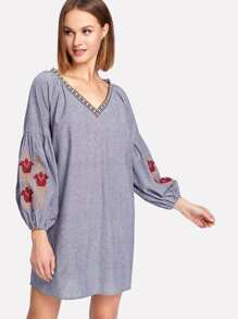 Embroidery Bishop Sleeve Tunic Dress