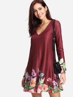 V Neck Flower Print Dress