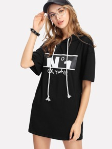 Letter Print Drop Shoulder Hooded Tee Dress