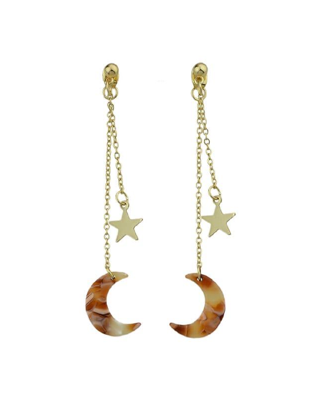 Image of Light-Brown Star Charm Earrings Colorful Acrylic Moon Geometric Drop Earrings