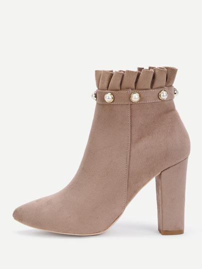 Faux Pearl Ruffle Trim Block Heeled Boots