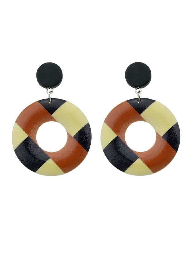 Box Vintage Style Wood Geometric Pattern Round Hanging Earrings