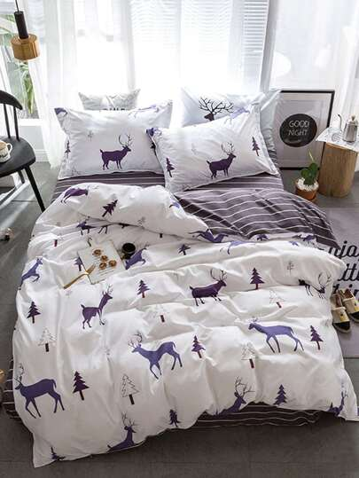 2.2m 4Pcs Elk Print Duvet Cover Set