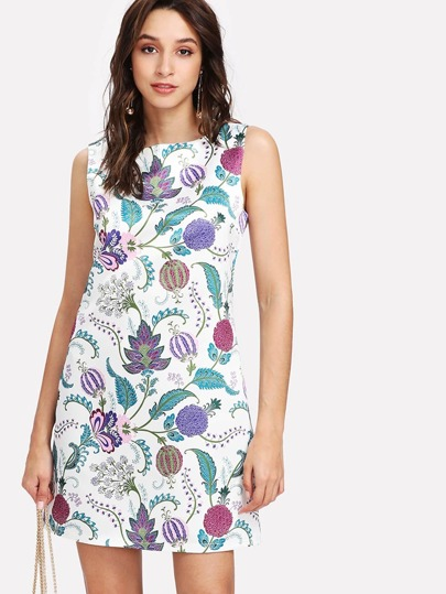 A Line Botanical Sleeveless Dress