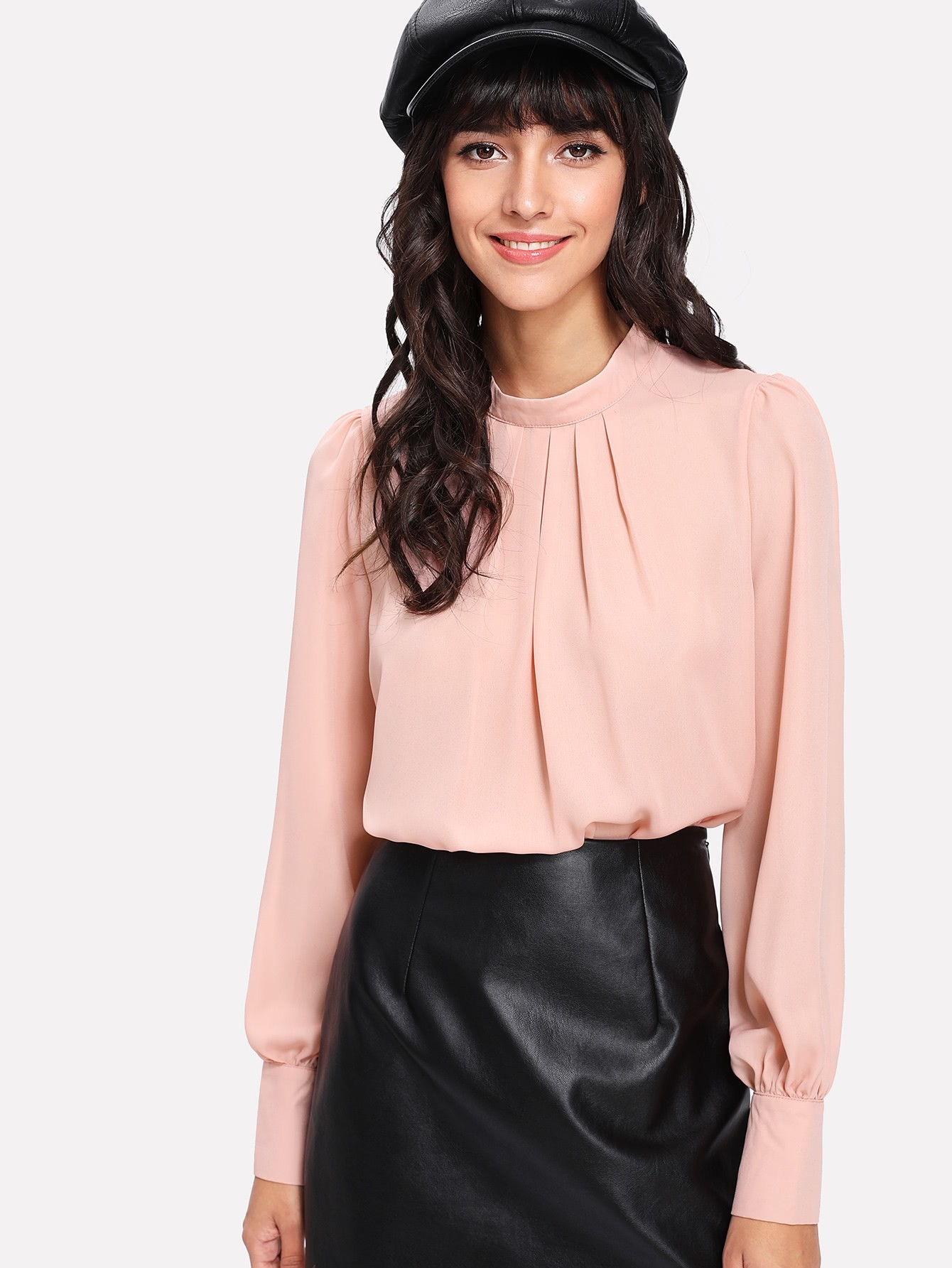 Stand Collar Pleated Blouse pleated button collar blouse